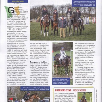 Izzy Taylor at Ballindenisk featuring in Eventing magazine