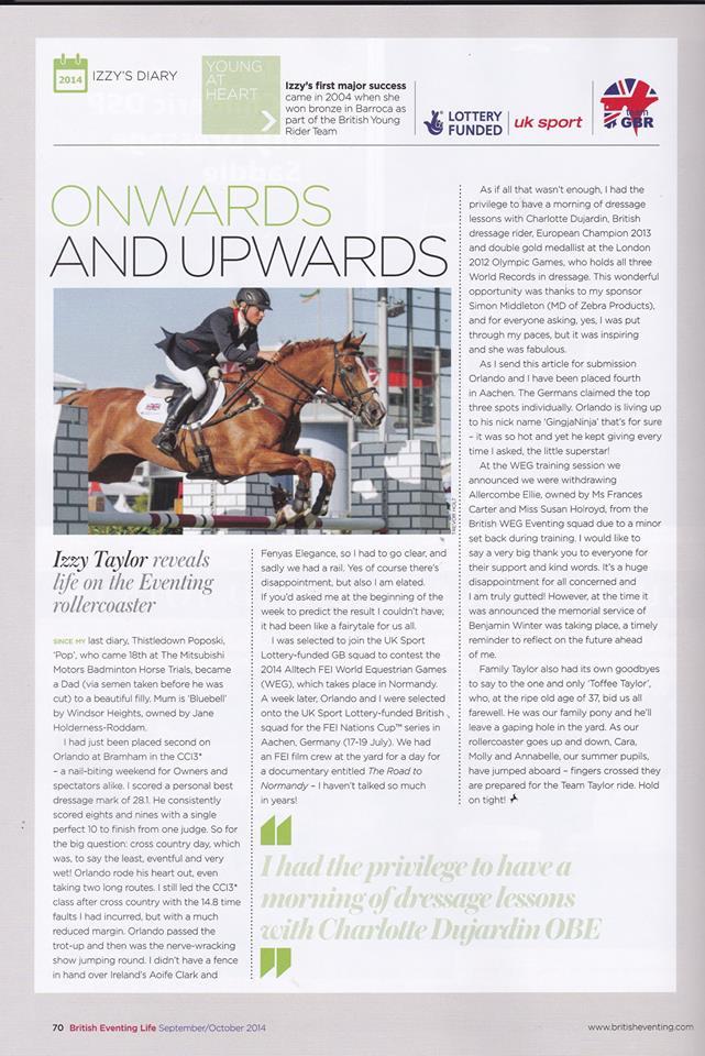 Izzy Taylor British Eventing magazine article