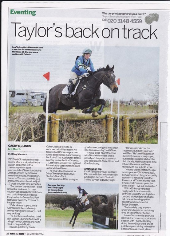 Izzy Taylor and Allercombe Ellie in Eventing magazine